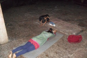 Prostrating at Maratika Cave for the benefit of all sentient beings